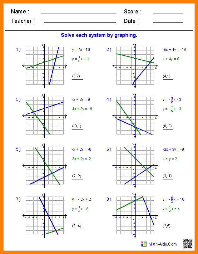 Graphing Systems Of Equations Worksheet Homeschooldressage