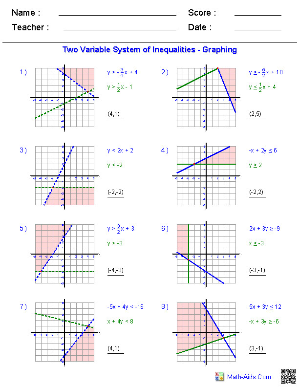 Solving Two Variable Systems of Inequalities by Graphing