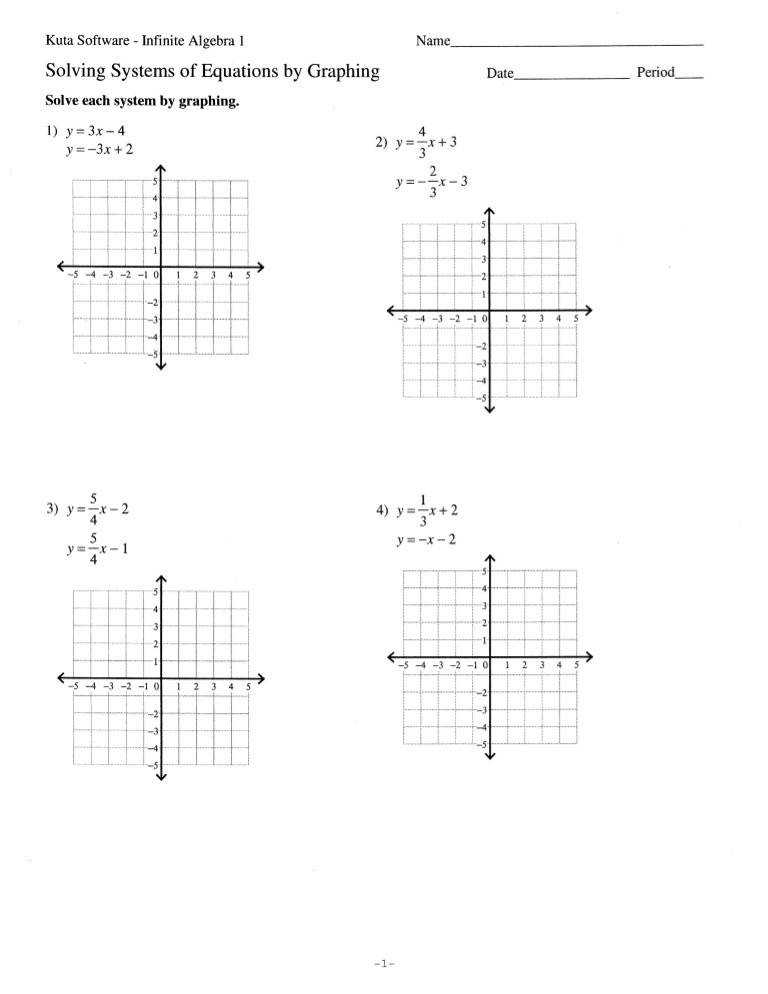 Graphing systems of equations worksheet 6 1