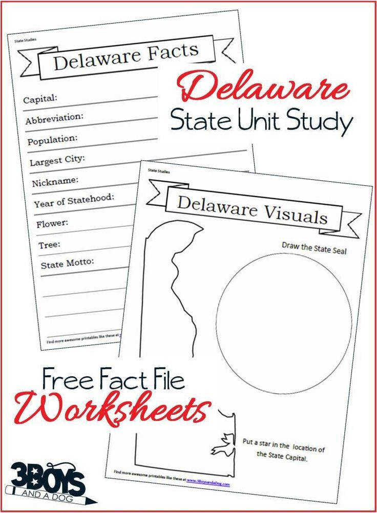 Delaware State Fact File Worksheets part of a 14 page Unit Study Workbook These