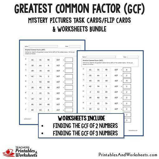 Greatest mon Factor GCF Bundle Worksheets