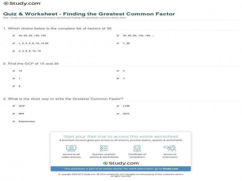 Quiz & Worksheet – Finding The Greatest mon Factor