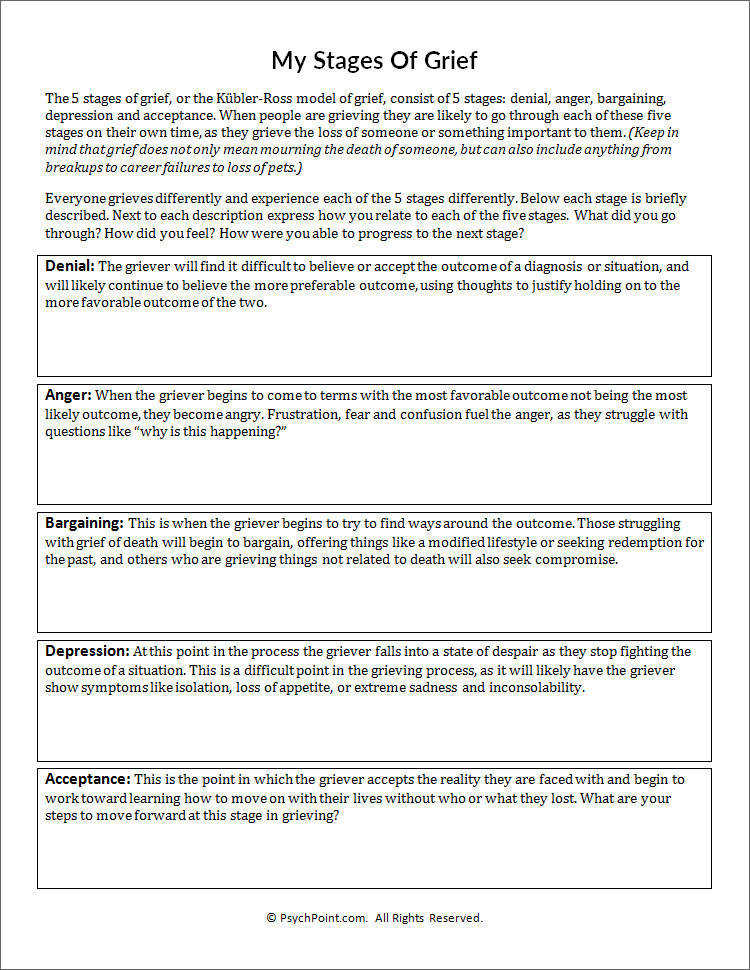 My Stages Grief Worksheet