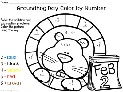 groundhog day color by number addition u0026 subtraction within 10
