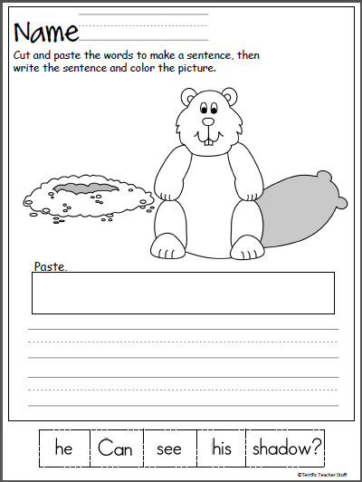 Groundhog Day Scrambled Sentence Worksheet