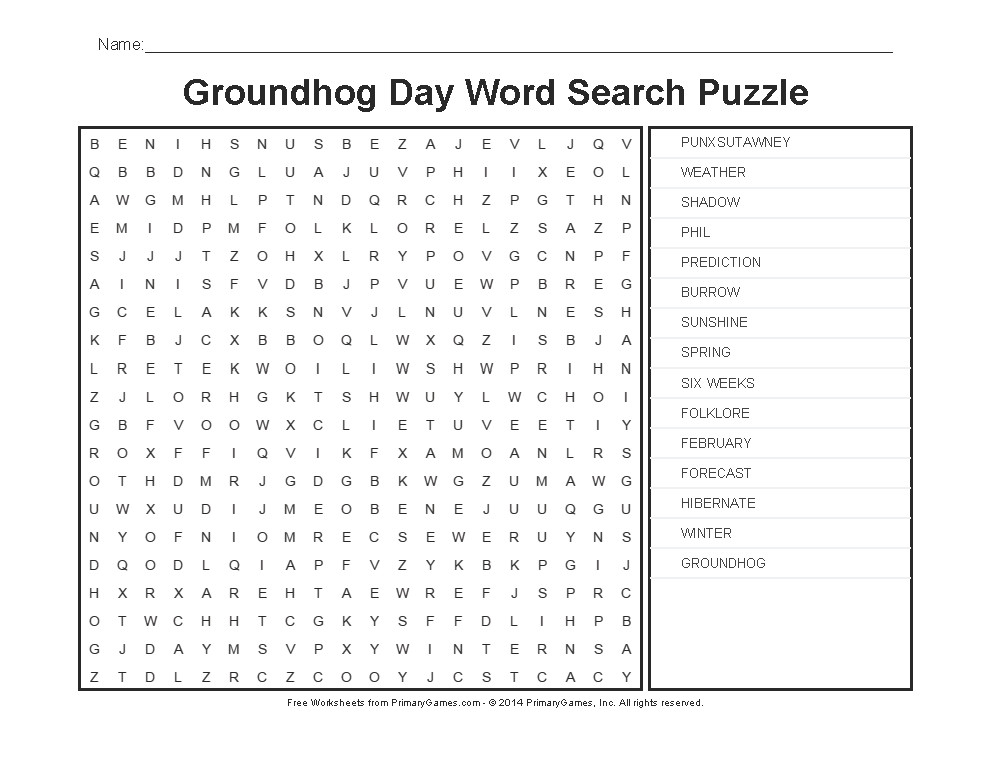 Groundhog Day Worksheets Groundhog Day Word Search Puzzle PrimaryGames Play Free line Games