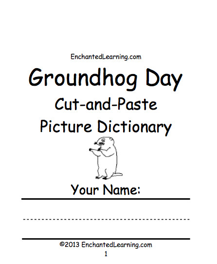 Groundhog Day Cut and Paste Picture Dictionary