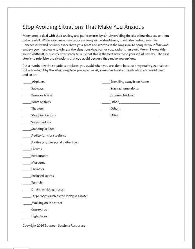 Between Sessions Anxiety Worksheets For Adults Group Therapy Stop Avoiding Situations That Make You Anxioius Ima