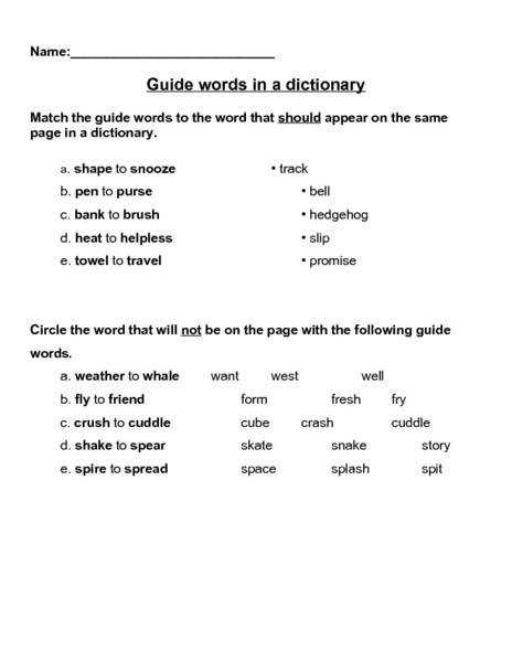 Dictionary Skills Worksheet Guide Words