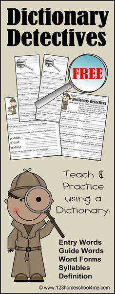 FREE Dictionary Detectives Worksheets for Kids in 2nd and 3rd Grade worksheets homeschooling