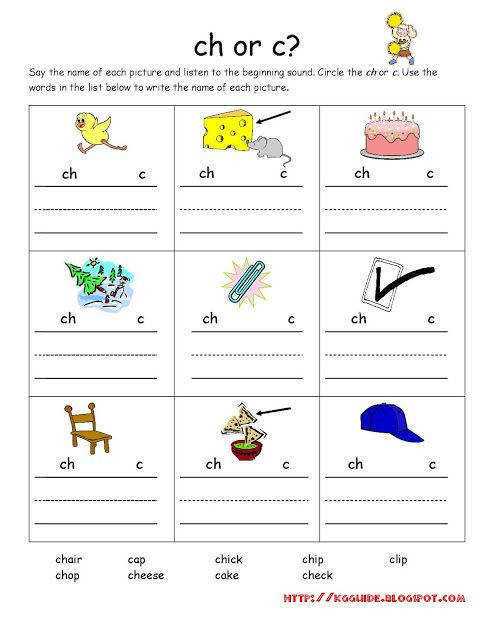 "ch"" Words worksheet for Kindergarten Students Kindergarten"