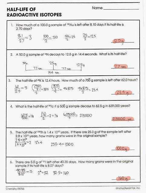 Half Life Problems Worksheet Delibertad