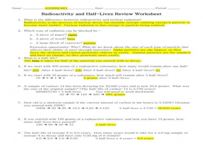 Radioactivity & Half Lives Review Worksheet