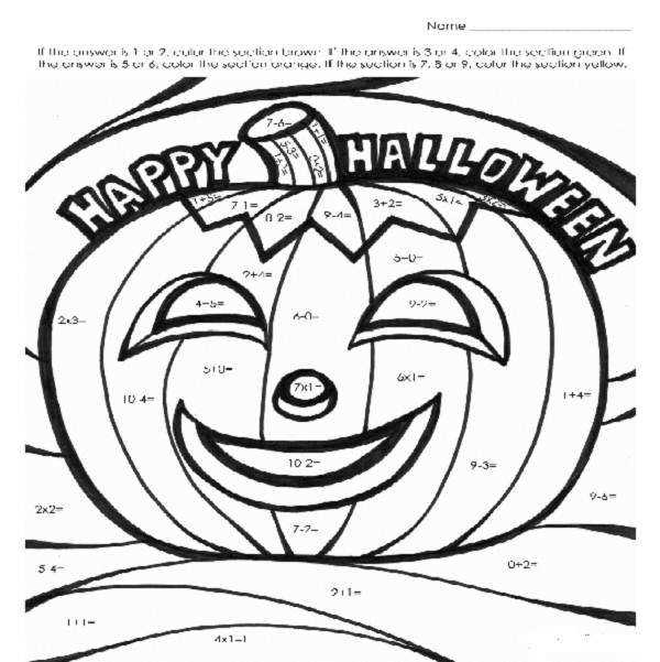 Halloween Coloring Pages With Math Imgimg with Halloween Math Coloring Pages