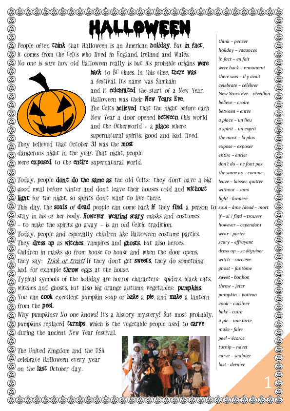 Halloween Worksheet History and Games for French Students