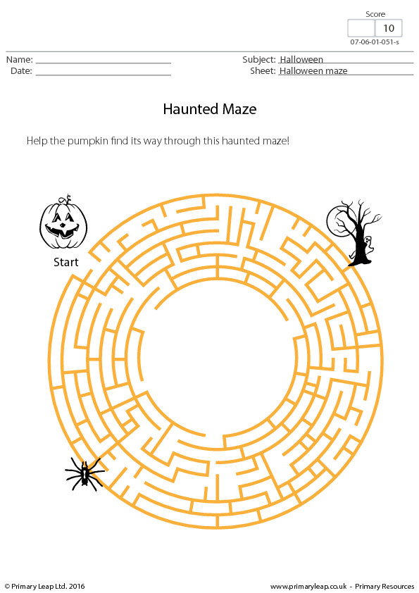 Halloween Worksheet Haunted Maze