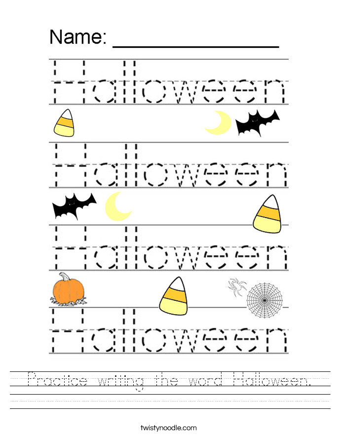 Practice writing the word Halloween Worksheet