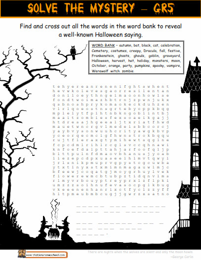 Grade 6 halloween hidden message worksheet