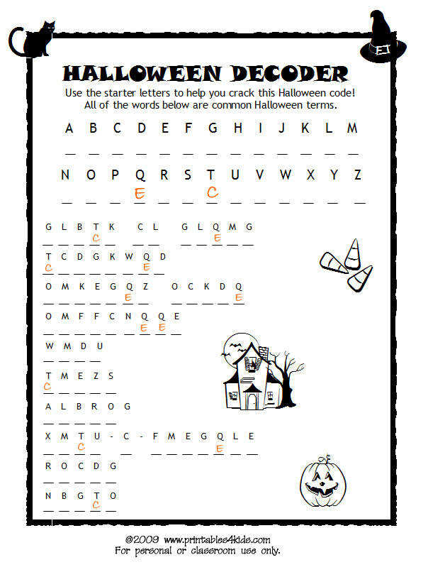 Halloween Code Breaker Cryptoquiz Brain Teaser Printables for Kids – free word search