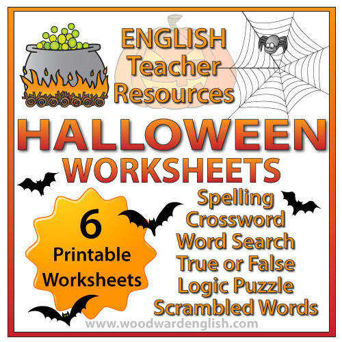 Halloween Worksheets Spelling Crossword Word Search True or False Logic Puzzle