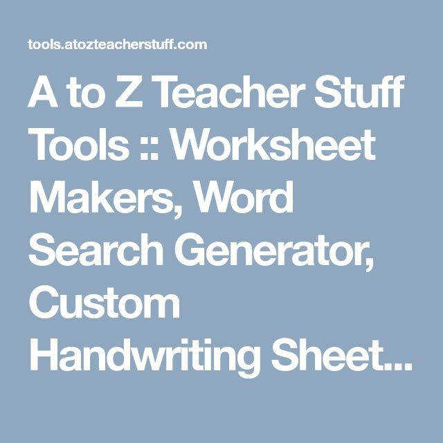 A to Z Teacher Stuff Tools Worksheet Makers Word Search Generator Custom