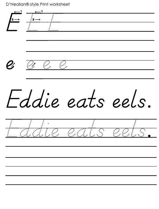D Nealian Handwriting Worksheets Printable