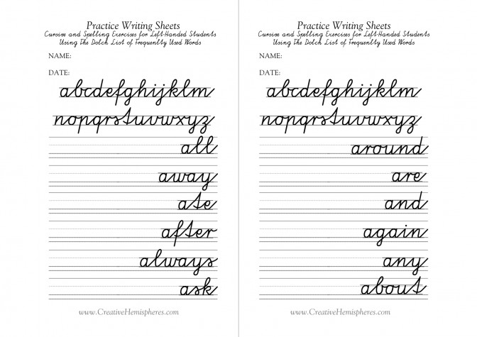 Handwriting Worksheet Maker For Kindergarten Printables Free Left Handed Cursive Writing Practice Sheets 4 Kindergarten Handwriting