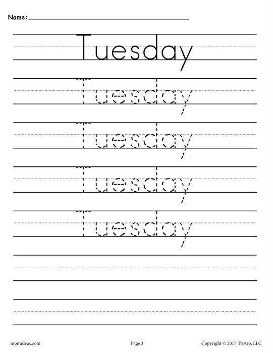 Tuesday Handwriting Worksheet