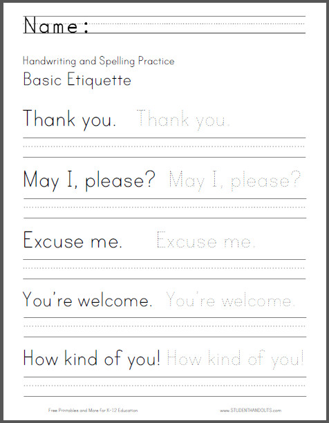 Basic Etiquette Handwriting and Spelling Worksheet Free to print PDF file