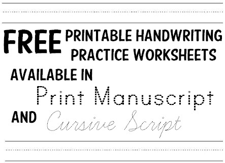Free Printable Handwriting Practice Worksheets for Kids in Print Manuscript Font and Cursive Script Font