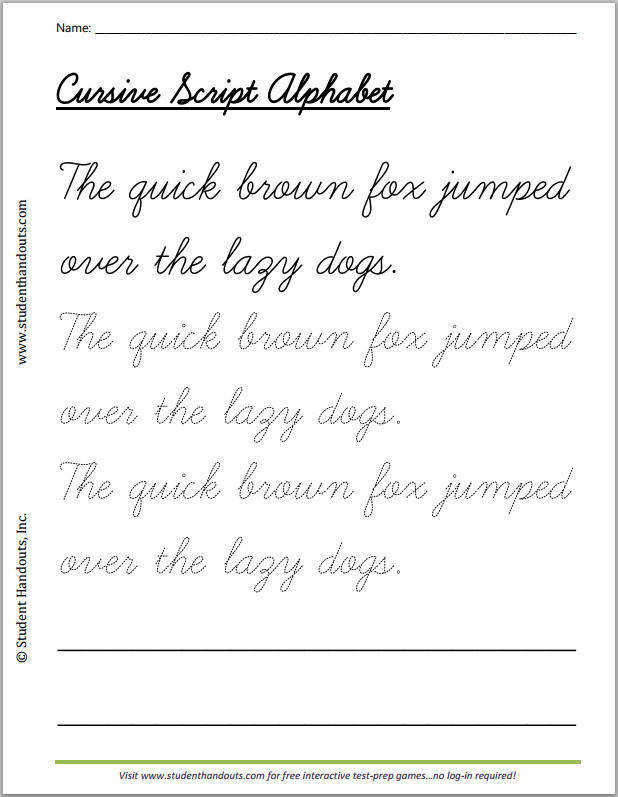 The quick brown fox jumped over the lazy dogs cursivescript handwriting practice worksheet for kids