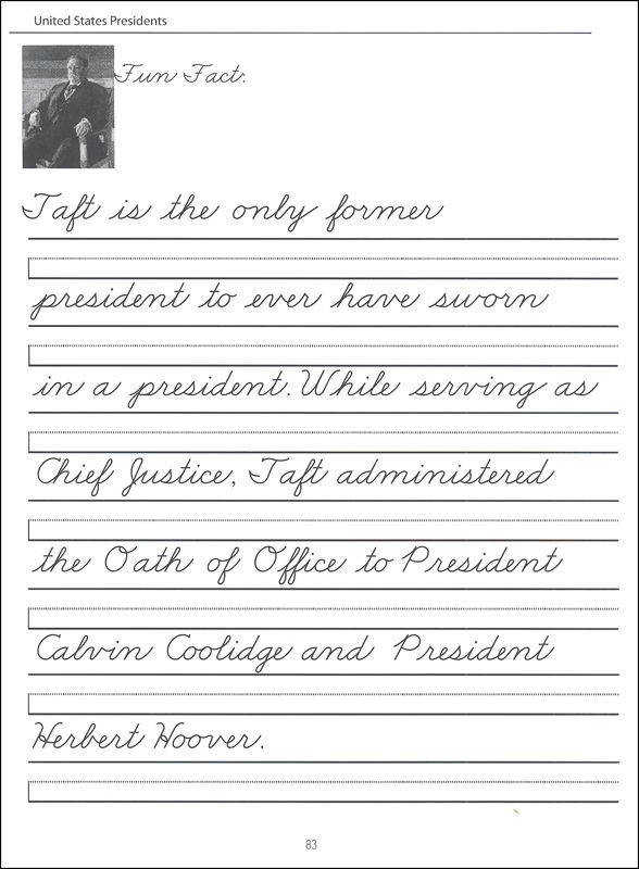 44 United States Presidents Character Writing Worksheets Zaner Bloser Beginning Cursive