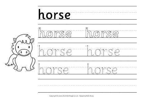 horse handwriting worksheet 460 0