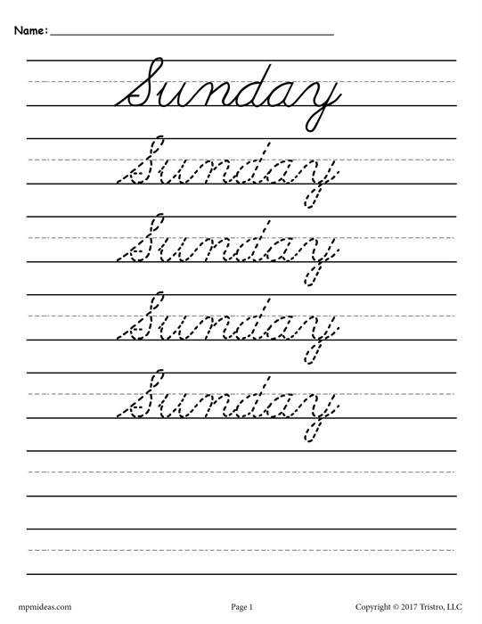 Sunday Cursive Handwriting Worksheet