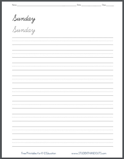 Days of the Week Handwriting Practice Worksheets Cursive script or print manuscript Free printables