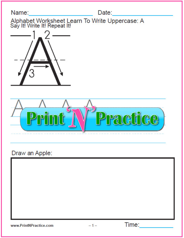 26 Manuscript Printable Handwriting Worksheets to teach the alphabet PrintableHandwritingWorksheets