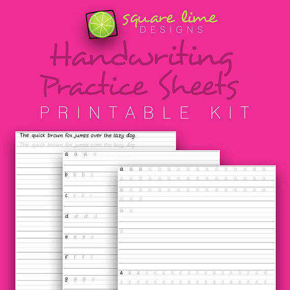 Handwriting Practice Sheets Uppercase & Lowercase Handwriting Worksheets PDF Printable from squarelimedesigns on Etsy Studio