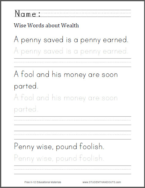wise words about wealth handwriting worksheet