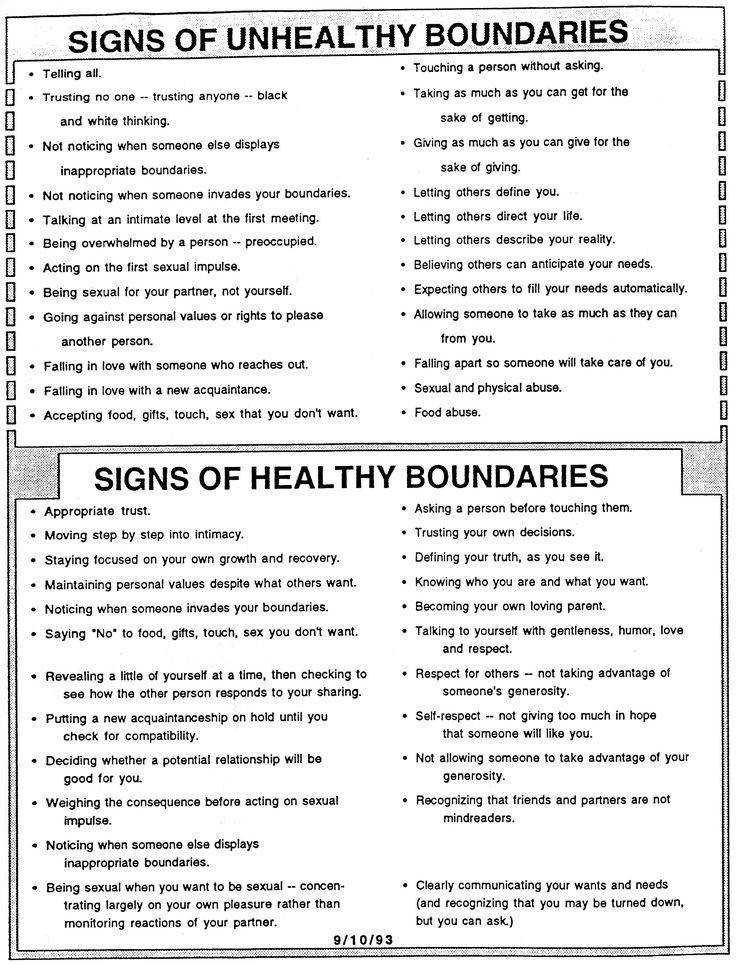 Signs of Boundaries Unhealthy vs Healthy A very important pair of lists to keep in mind as we live our lives and as we grow Too often we accept those who