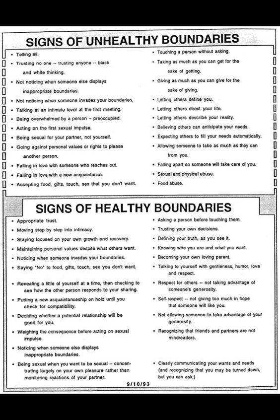 Signs of Healthy and Unhealthy Boundaries Counseling Pinterest