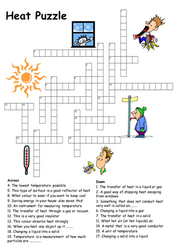 Heat transfer crossword puzzle by Physics Teacher Teaching Resources Tes