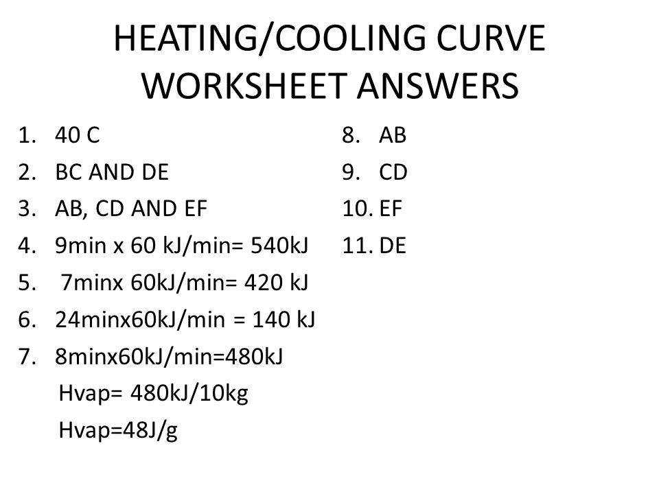 23 HEATING COOLING CURVE WORKSHEET ANSWERS