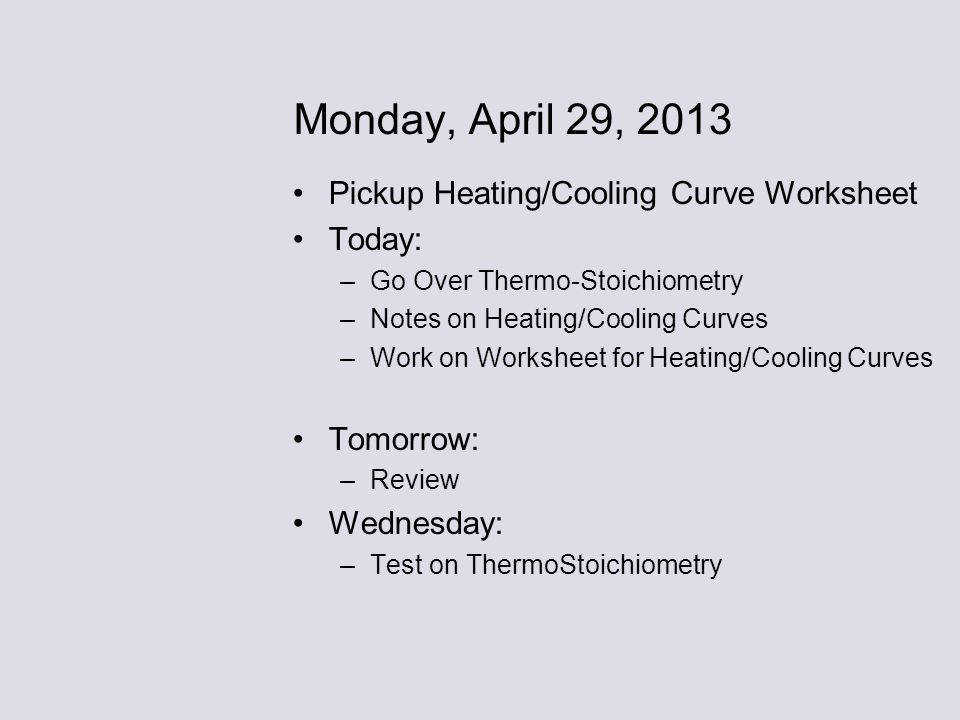 Monday April 29 2013 Pickup Heating Cooling Curve Worksheet Today