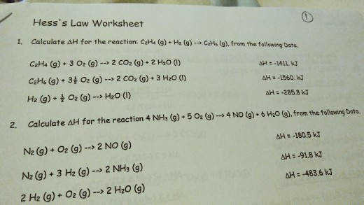 Hesss Law Worksheet calculate ΔH for the reaction CzH4 g H2