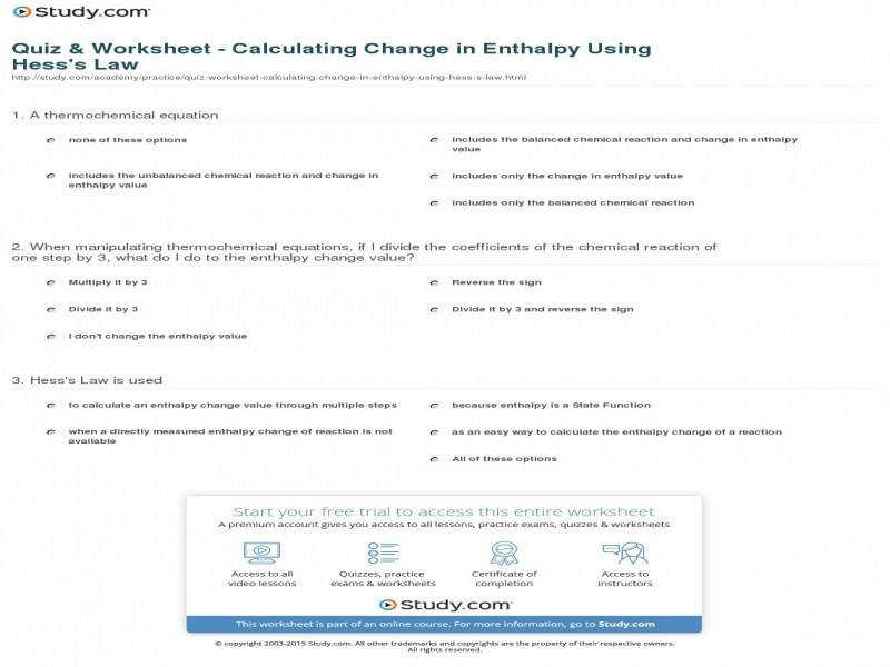 Quiz & Worksheet – Calculating Change In Enthalpy Using Hess s Law