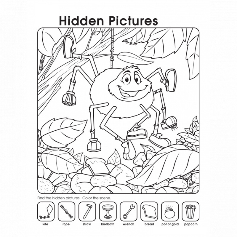 hidden pictures worksheets spider