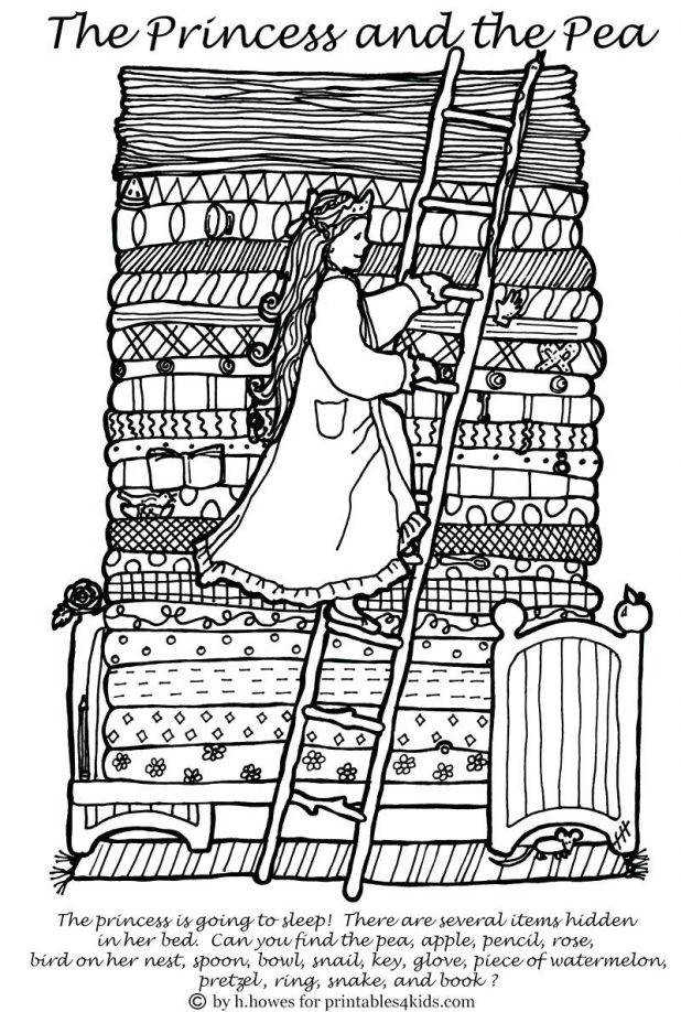 Coloring Pages Printable Free Hidden Worksheets Beautiful Princess And The Pea Title Awesome Bedtime Heart