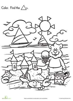Preschool Holidays & Seasons Worksheets Shape Search Baby Bear at the Beach
