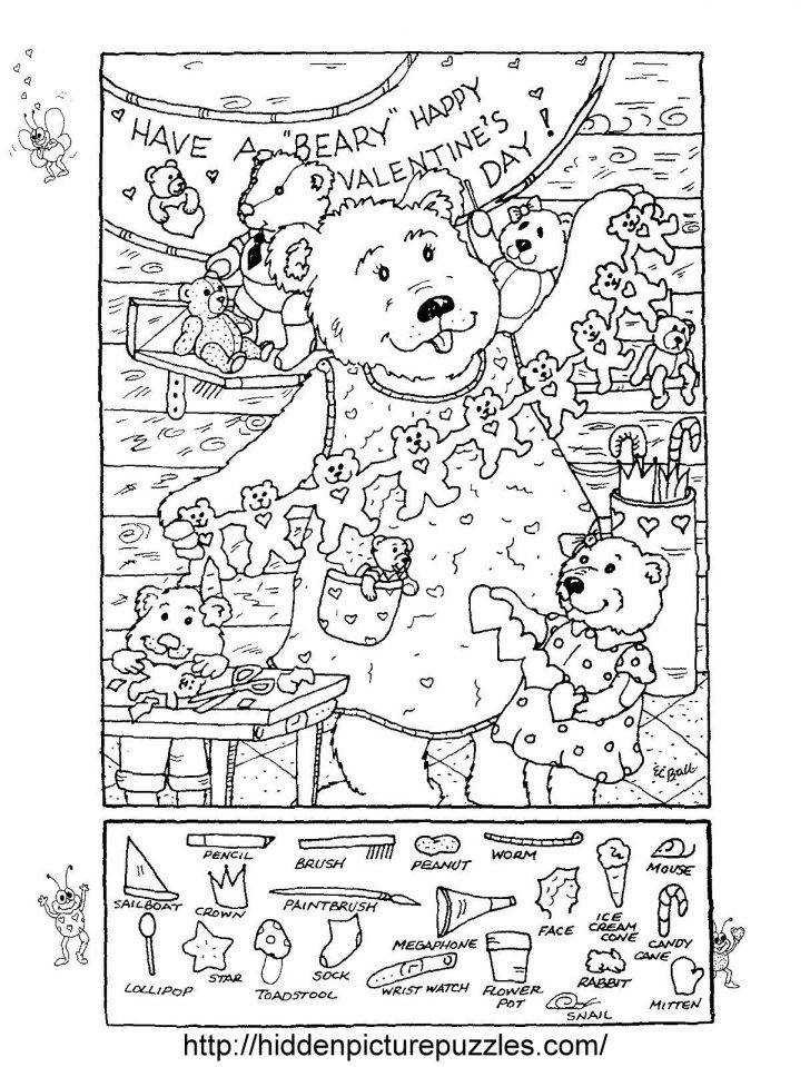 Hidden Publishing Hidden Picture Puzzle By Liz Puzzlecoloring Page For Valentines Day Printables Easy Medium