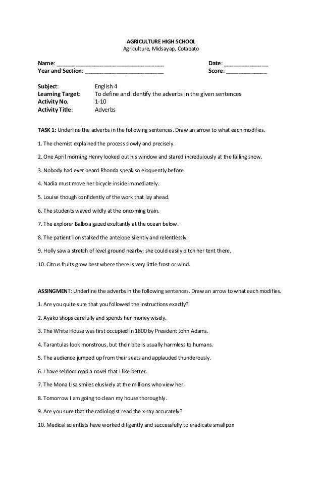 ENGLISH WORKSHEETS AGRICULTURE HIGH SCHOOL Agriculture Midsayap Cotabato Name